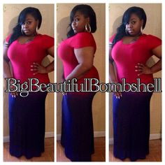 Red and Navy Maxi Dress Available in 1X 2X 3X #PlusSize Shop www.bocacelebrityboutique.com