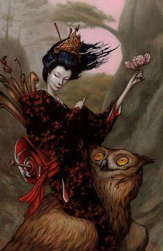 owl and japanese lady from Les albums de Céline E.: L'oeil de la chouette - Opus 3