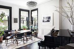 amazing white walls with dark trim