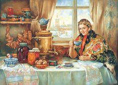 ''Drinking Tea'' by Vasili Nesterenko, (1997)