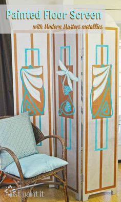 A $10 thrift store screen transformed into an art deco/nouveau beauty with Modern Masters paint!