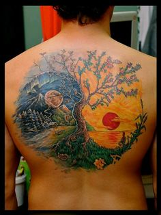 tree tattoos, tattoo idea, season, art, trees, a tattoo, ying yang, tree of life, ink