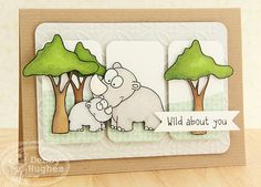 limedoodle, There She Goes stamps, card, love, encouragement, rhino, animals