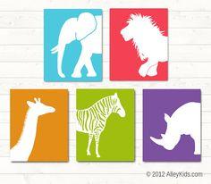 Jungle Animal Wall Art Prints Elephant, Zebra, Giraffe, Rhino, Lion Nursery Art Pick any 3