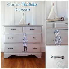 A nautical themed dresser finished in Paris Grey Chalk Paint® decorative paint by Annie Sloan with sailor image applied with Annie Sloan Decoupage | By Finding Silver Pennies