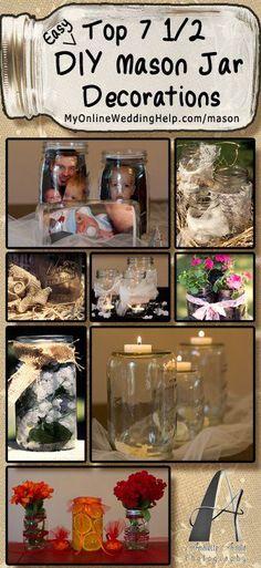 Easy decorations using mason jars | http://www.MyOnlineWeddingHelp.com