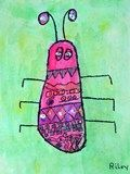 """1st grade """"stink bugs"""" use their feet as a template, divide into 3 parts and add designs."""