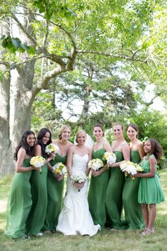 Pretty Green -- Bridesmaids -- Wedding Colors -- See the wedding on #SMP here: http://www.StyleMePretty.com/little-black-book-blog/2013/10/28/elihu-island-wedding-from-jason-walz-photography/ Photography: JasonWalz.com