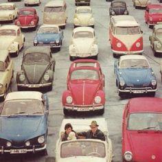 "@Blabla Car's photo: ""Stylish traffic jam!  #traffic #cars #volkswagen #vintage #cars #travel"""