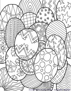 easter eggs- doodle- coloring page