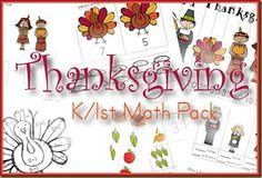 Free Thanksgiving Kinder/1st math Pack