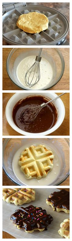 Doughnut Waffles using Pillsbury flaky layer biscuits – no deep-frying or oil required!
