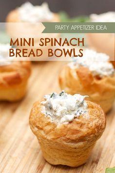 artichok dip, spinach artichoke dip, mini spinach, mini party food, spinach bread, bread bowls, food idea, spinach dip, parti food
