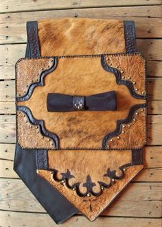 NEW hand crafted leather table runner and matching place mat, just in time for the holidays! #leather #Western #fur  #table top #home decor http://stargazermercantile.com