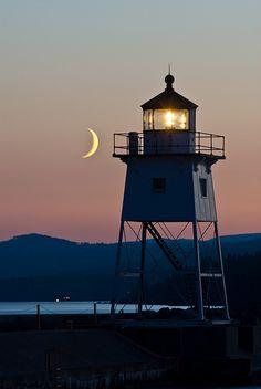 Lighthouse and Crescent Moon, - Grand Marais MN