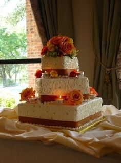 Square Offset Fall Themed Wedding Cake