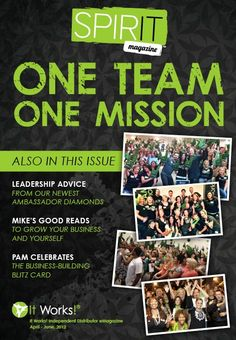 "Spirit Magazine is all about celebrating YOU! This edition you will find pictures from our ""One Team, One Mission"" Opportunity Tour, international recognition, plus, meet our newest Ambassador Diamonds!    Now you can even ""Share"" Spirit with friends, family, and prospects with just the click of a button!    Click here to view your April-June 2012 Spirit eMagazine: http://www.itworks-shop.com/_access/spirit/GBL001_2012Q2_SpiritNewsletter.pdf   http://www.facebook.com/WrappingSkinnyItWorksBodyWra"