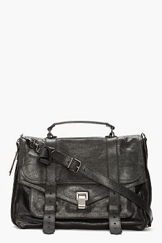 PROENZA SCHOULER black leather foldover PS1 messenger bag europe trip