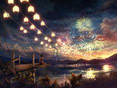 art illustrations, scenic wallpap, ambient mix, cloud, fireworks, anim sceneri, anime girls, light, anim art