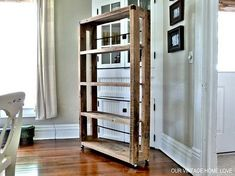 15 Ways Of Using Pallets In Home Decor...pallet shelving - deconstructed pallets using larger pallets (industrial size like the kind holding sewer pipes, etc.), casters & some rebar for stability