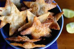 Cinnamon Sugar Tortilla Star Chips by cheekykitchen #Chips #Cinnamon #Sugar #Tortilla