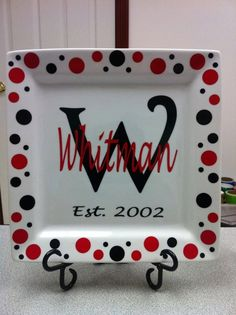 monogrammed cricut craft ideas | Cricut craft ideas / Personalized Plate Wedding Plate with Stand Last ...