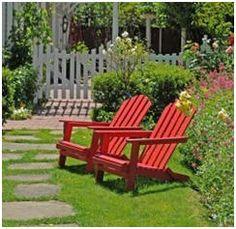 diy landscap, adirondack chairs, yard, landscap idea, outdoor, garden idea, red adirondack, landscap guid, gardening and landscaping