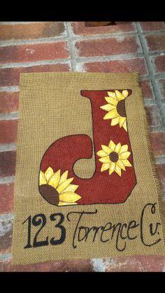 Initial Burlap Garden Flag Sunflower Pattern by 2NightOwls on Etsy, $20.00