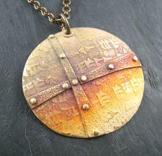 Gail Lannum - Tribal Shield (bronze metal clay)
