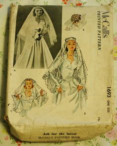 McCall 1693 Vintage Sewing Pattern Bridal by EleanorMeriwether, $24.00