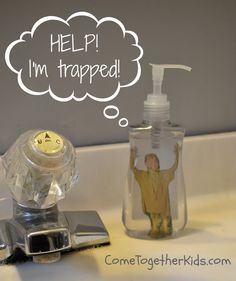 Kid in a Bottle of liquid hand soap ~ how fun!