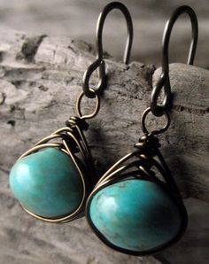 Turquoise Earrings  Turquoise Wire Wrapped by ForestLilyDesigns, $27.00