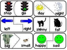 Learning about antonyms can be fun! Here are 30 self checking puzzle pieces of opposites.