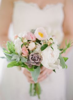 a #bouquet full of beauty #peonies #succulents Photography: Gabe Aceves - gabeaceves.com, Florals by http://www.singingfrogfarm.com  Read More: http://stylemepretty.com/2013/10/22/virginia-wine-country-wedding-from-gabe-aceves/