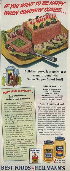 A hollowed-out block of bologna with a mayonnaise-mashed peas-gelatin filling. Dear lord, why would anyone want to do that to their own mouth?