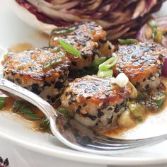 Sesame-Crusted Scallops with Green Onion Sauce - Clean Eating