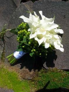 White Mini Calla Lily and Green Berry Bouquet