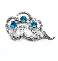 Vintage Rhinestone Brooch, Silver Metal, Blue Glass Pin