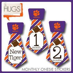 Tie Shape Onesie Stickers with Clemson Tigers by HeadsUpGirlsBaby, $10.00