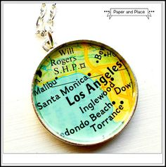 COLORFUL LOS ANGELES SANTA MONICA INGLEWOOD CALIFORNIA MAP NECKLACE