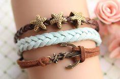 sailing bracelet,retro bronze personality anchor with starfish Pandora bead,alloy bracelet,brown leather,green rope braid bracelet
