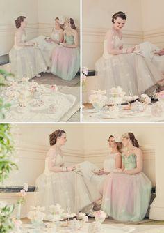Pastel colour wedding dresses...