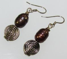Copper Freshwater Potato Pearls  with Antique Pewter by RiVaa, $12.00