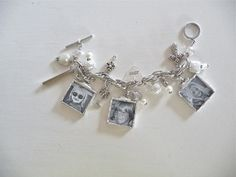 Custom Photo Charm Bracelet with 6 black & white photos in white and silver by MimiandMoi on Etsy, $110.00