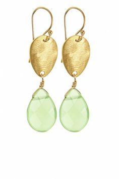 18k gold and semi-precious stone teardrop earrings