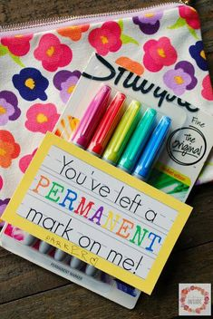 """You've Left a Permanent Mark"" Teacher Appreciation Gift Idea and Printable #cheapchristmasgifts"