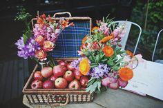orange flowers, appl