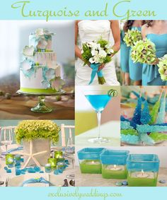 Turquoise and Green Wedding Colors - Read more here http://blog.exclusivelyweddings.com/2013/07/13/turquoise-wedding-color-seven-perfect-combinations/