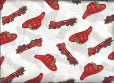 Fire Trucks! FAT QUARTERS!100% Cotton quilt fabric-free shipping