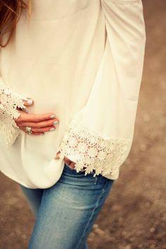 Pink Blush White Crochet accent Maternity Blouse